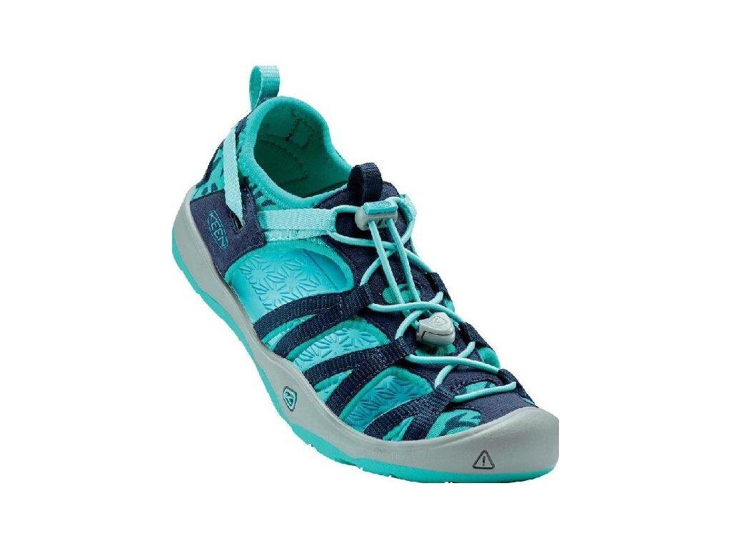 Kvalitní dětské pohodlné sandály pro sport a výlety Keen Moxie dress blues/viridian v tyrkysové barvě