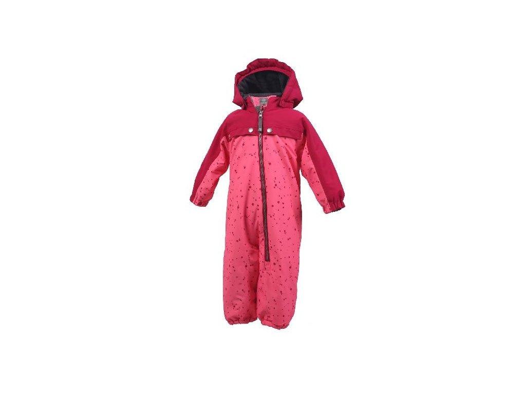 Kvalitní dětská zimní kombinéza s membránou Color Kids Kelby coverall Rasberry ve světle vínové barvě