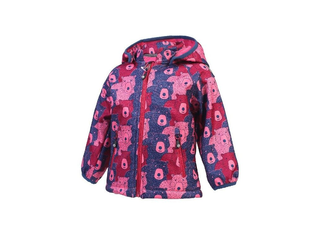 Kvalitní dětská zateplená jarní softshellová bunda s kapucí a reflexními prvky Color Kids Keast softshell Camellia rose v růžové barvě