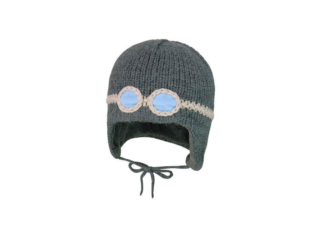 Kvalitní dětská zimní čepice Maximo brýle v šedé barvě