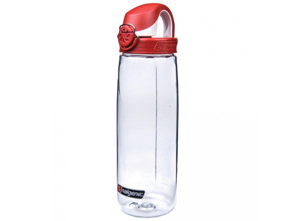 Kvalitní dětská plastová láhev bez BPA Nalgene OTF 650 ml čirá - červené víčko
