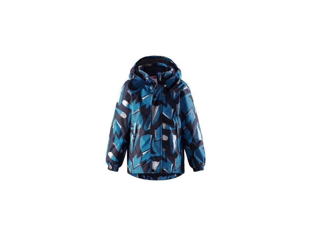 Kvalitní dětská zimní zateplená bunda s odnímatelnou kapucí a reflexními prvky Reima Multe navy Fox v modré barvě