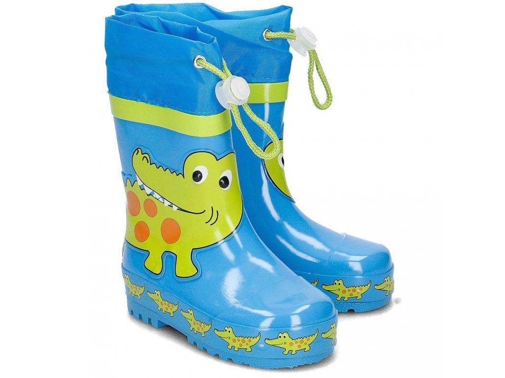 Kvalitní dětské gumáky z přírodního kaučuku se stahovací šňůrou Playshoes Krokodýl v modré barvě