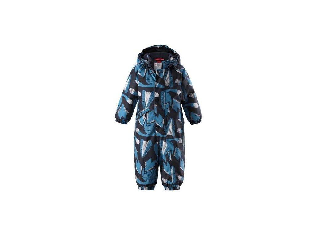 Kvalitní dětský zimní overal s odnímatelnou kapucí a reflexními prvky Reima Suo Navy fox v šedo-modré barvě