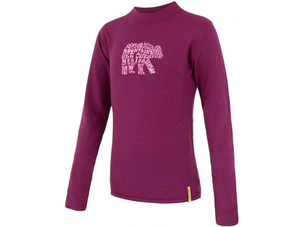 Kvalitní dětské teplé a příjemné funkční prádlo Sensor merino DF Bear ve vínové barvě