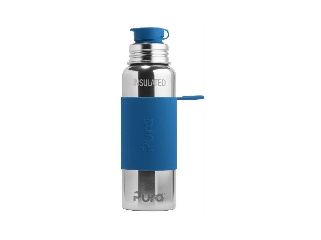 Kvalitní termoska bez plastových částí se sportovním uzávěrem Pura Termo 650 ml v modré barvě