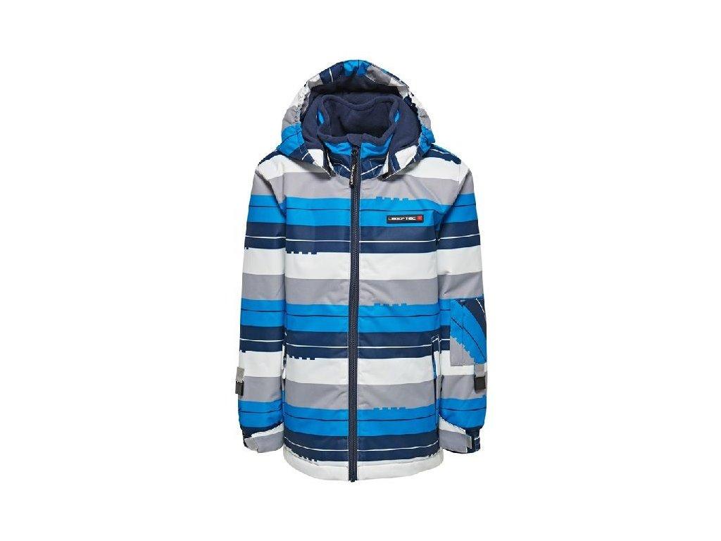 Kvalitní dětská chlapecká lyžařská bunda s kapucí a reflexními prvky LEGO® Wear Jazz v modré barvě