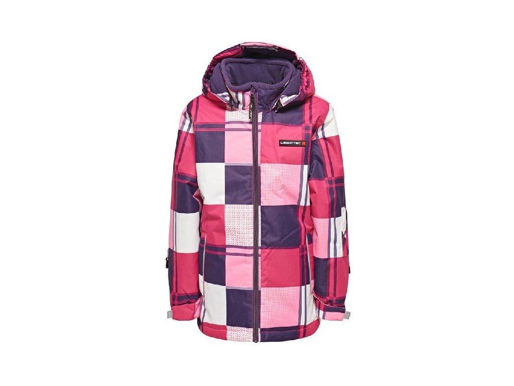 Kvalitní dětská zimní zateplená bunda s odnímatelnou kapucí a reflexními prvky LEGO® Wear Jenny v růžové barvě