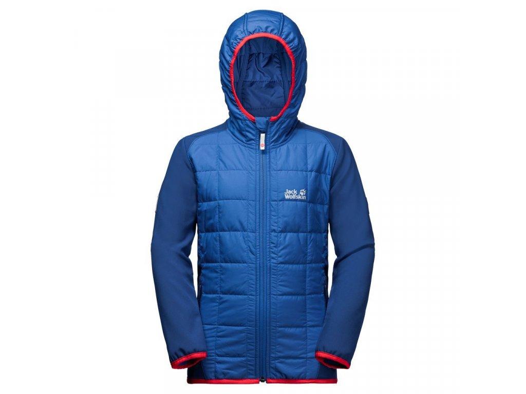 Kvalitní dětská nepromokavá jarní bunda s kapucí a reflexními prvky Jack Wolfskin Grassland Hybrid JTK coastal blue v modré barvě
