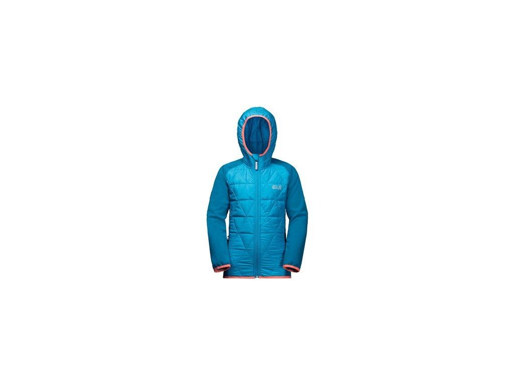 Kvalitní dětská nepromokavá jarní bunda s kapucí a reflexními prvky Jack Wolfskin Grassland Hybrid JTK icy lake blue v modré barvě