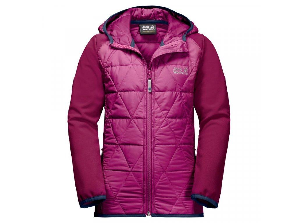 Kvalitní dětská nepromokavá jarní bunda s kapucí a reflexními prvky Jack Wolfskin Grassland Hybrid JTK fuchsia ve vínové barvě