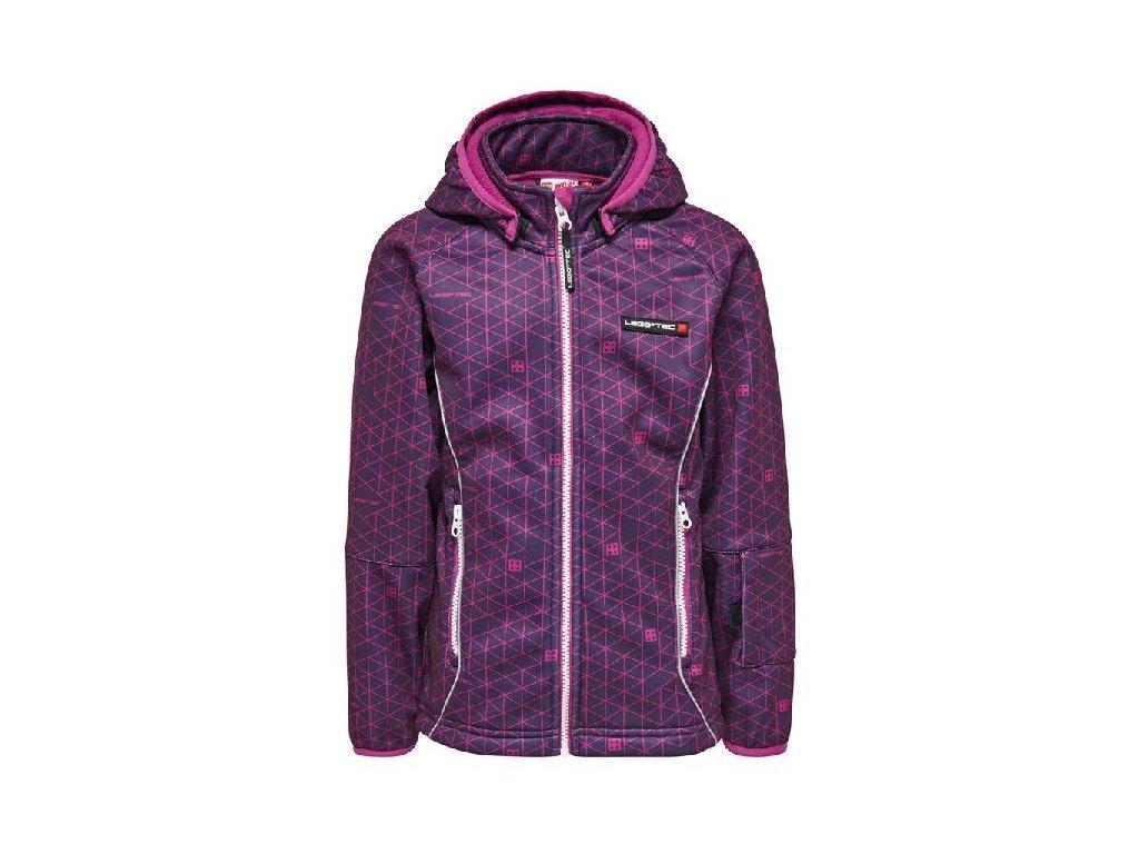 Kvalitní dětská zateplená jarní softshellová bunda s kapucí a reflexními prvky LEGO® Wear Sadie ve fialové barvě