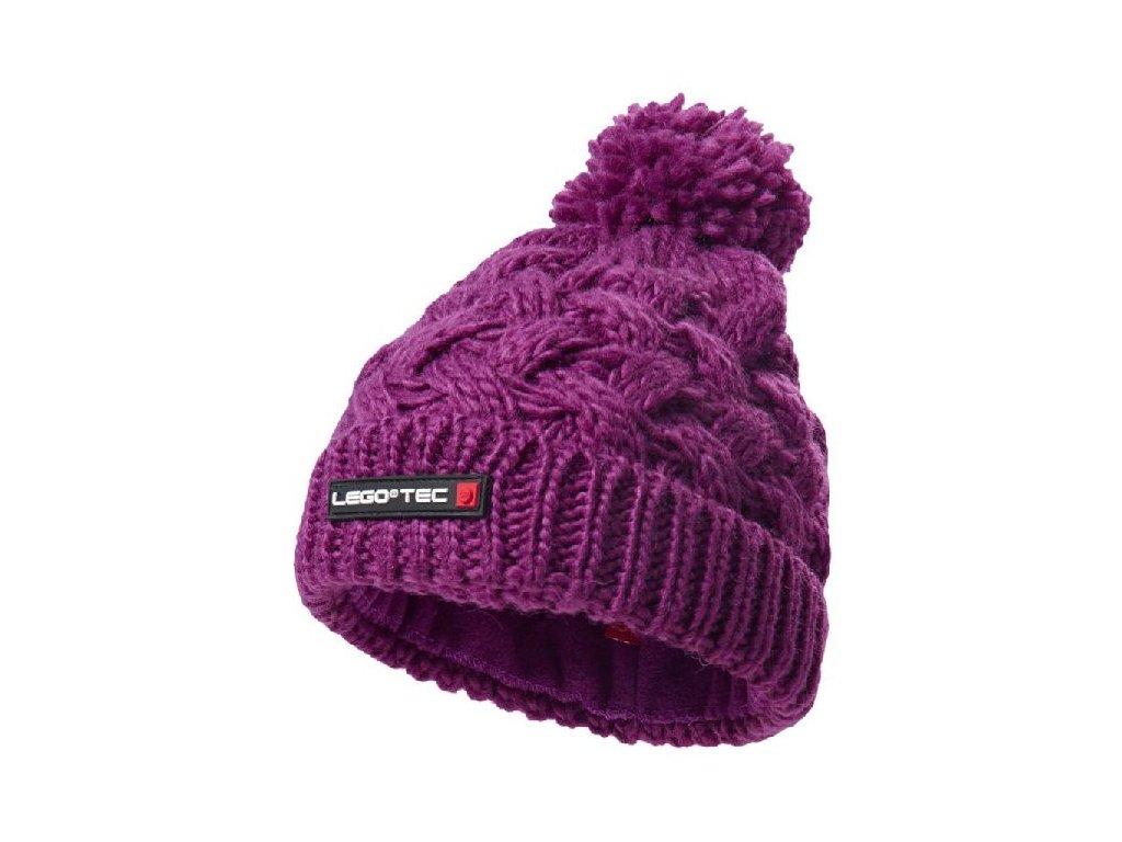 Kvalitní dětská zimní pletená čepice s bambulí LEGO® Wear Ayan 773 ve světle fialové barvě