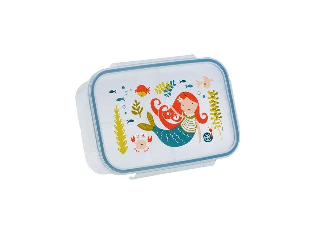 Kvalitní dětská svačinová krabička s třemi oddělenými částmi a bez BPA Sugarbooger Good Lunch box - Isla the Mermaid
