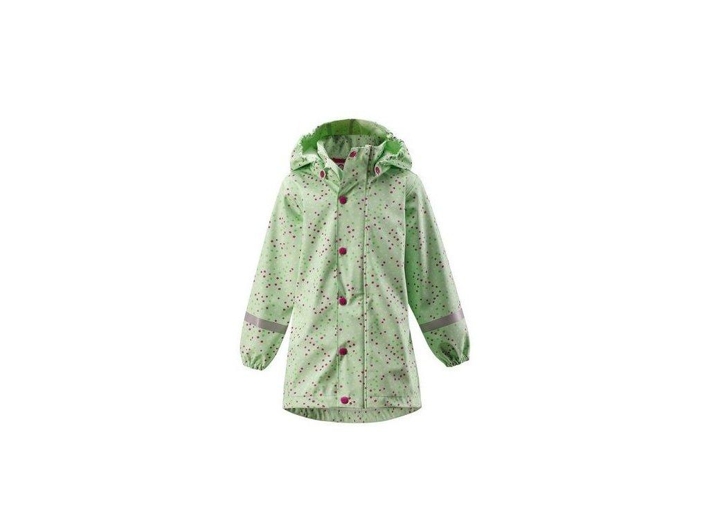 Kvalitní dětský dívčí kabát do deště (pláštěnka) s kapucí a reflexními prvky Reima Vatten - Pastel green v zelené barvě