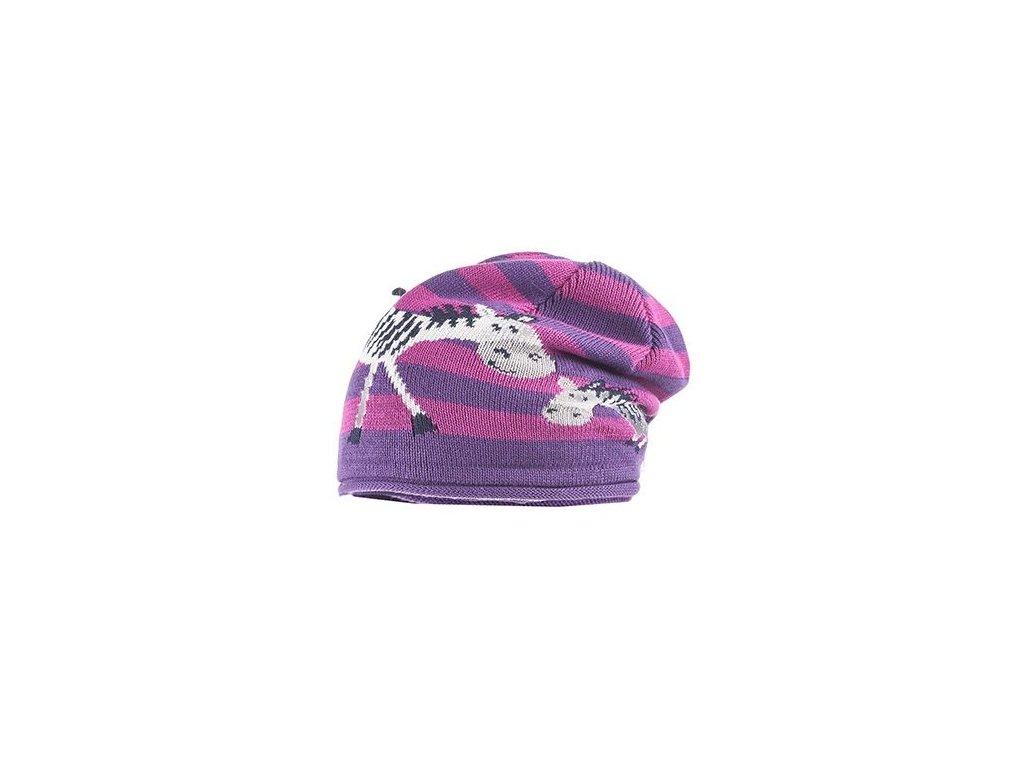 Kvalitní dětská pletená zimní čepice Maximo zebry ve fialové barvě