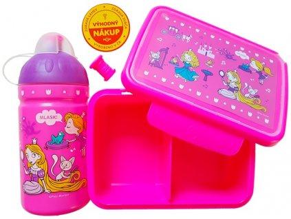Kvalitní set lahvičky a krabičky s antibakteriálním účinkem RB Mědílek Svět princezen v růžové barvě