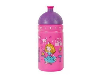 Kvalitní plastová dětská láhev bez BPA RB Mědílek Zdravá láhev Svět princezen 0,5 l ve fialovo-růžové barvě