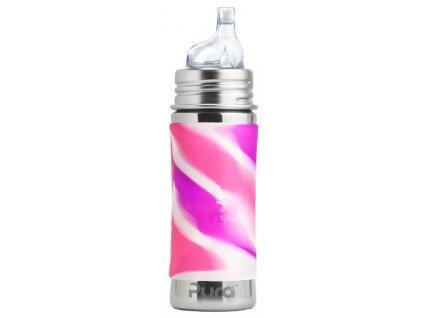Kvalitní termoska bez plastových částí s pítkem Pura Termo 260 ml v růžovo-bílé barvě