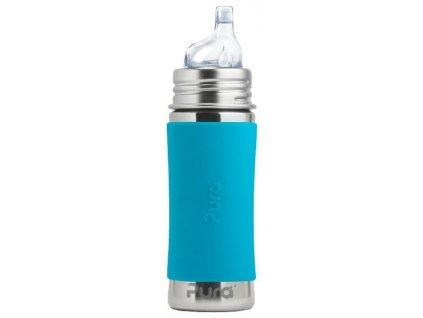 Kvalitní termoska bez plastových částí s pítkem Pura Termo 260 ml aqua v modré barvě