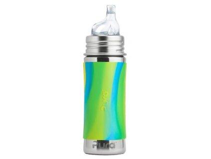 Kvalitní termoska bez plastových částí s pítkem Pura Termo 260 ml v zeleno-modré barvě