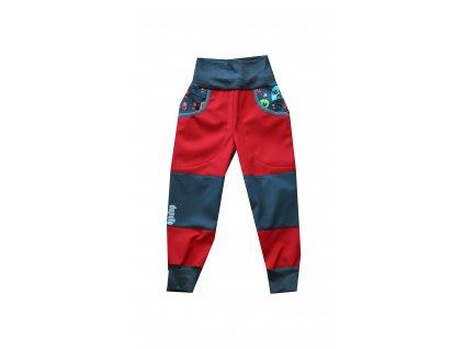 Kvalitní dětské lehké softshellové kalhoty s reflexními prvky DupeTo v červené barvě