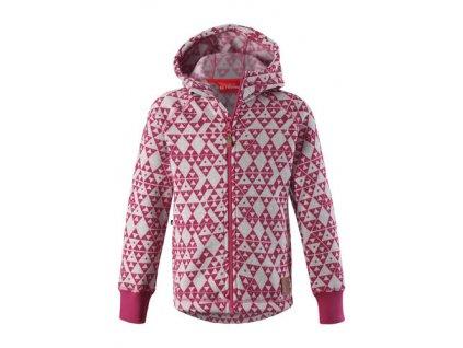 Kvalitní dětská hřejivá jarní fleecová mikina Reima Northern - rose v růžové barvě