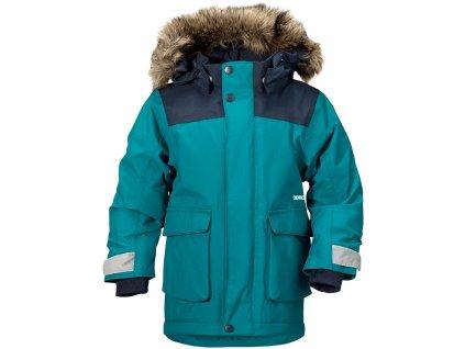 Kvalitní dětská zimní zateplená bunda s kapucí a reflexními prvky Didriksons 1913 Kure v petrolejové barvě