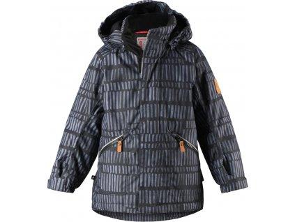 Kvalitní dětská zimní bunda s membránou a s odnímatelnou kapucí a reflexními prvky Reima Nappaa dark grey v šedé barvě