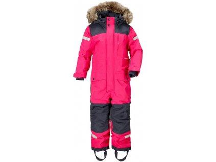 Kvalitní dětský zimní overal s odnímatelnou kapucí a reflexními prvky Didriksons 1913 Bjornen v růžové barvě
