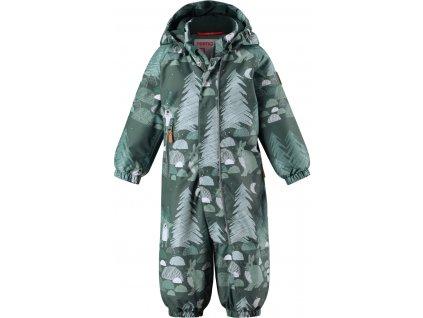 Kvalitní dětský zimní membránový overal s odnímatelnou kapucí a reflexními prvky Reima Puhuri green v zelené barvě
