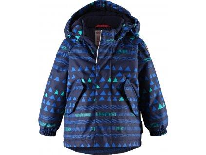 Kvalitní dětská zimní membránová bunda s odnímatelnou kapucí a reflexními prvky Reima Olki navy v modré barvě