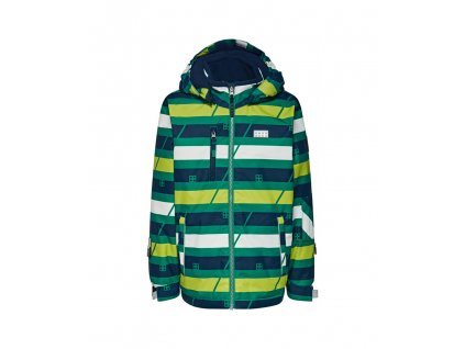 Kvalitní dětská zimní zateplená lyžařská bunda s odnímatelnou kapucí a reflexními prvky LEGO® Wear Tec Jakob 776 v zelené barvě