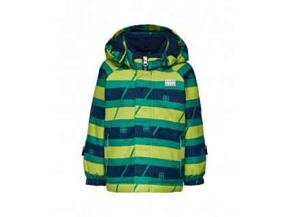 Kvalitní dětská zimní zateplená bunda s odnímatelnou kapucí a reflexními prvky LEGO® Wear Tec Johan 779 v zelené barvě