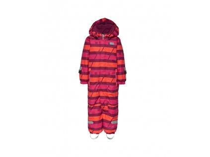 Kvalitní dětská zimní kombinéza s odnímatelnou kapucí a reflexními prvky LEGO® Wear Tec Johan 778 v oranžovo-červené barvě