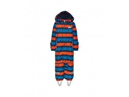 Kvalitní dětská zimní kombinéza s odnímatelnou kapucí a reflexními prvky LEGO® Wear Tec Johan 778 v modro-oranžové barvě