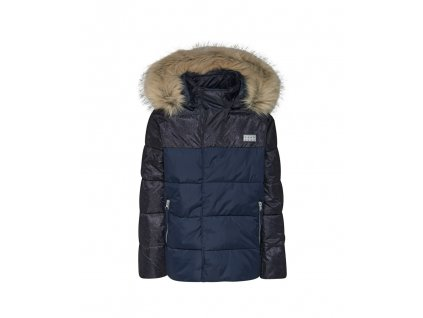 Kvalitní dětská zimní zateplená bunda s odnímatelnou kapucí a reflexními prvky LEGO® Wear Jakob 705 v tmavě modré barvě
