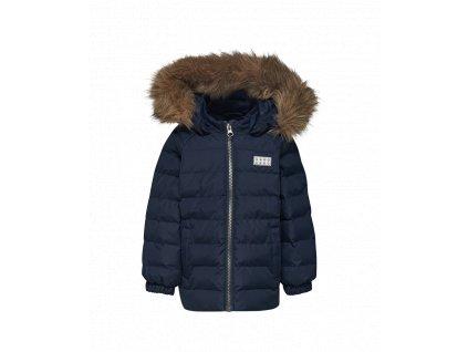 Kvalitní chlapecká zimní zateplená bunda s odnímatelnou kapucí a reflexními prvky LEGO® Wear Johan 794 v tmavě modré barvě