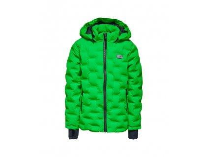 Kvalitní dětská zimní zateplená bunda s odnímatelnou kapucí a reflexními prvky LEGO® Wear Jakob 708 v zelené barvě