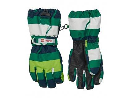 Kvalitní dětské zimní nepromokavé rukavice prstové LEGO® Wear Tec Aiden 704 v zelené barvě