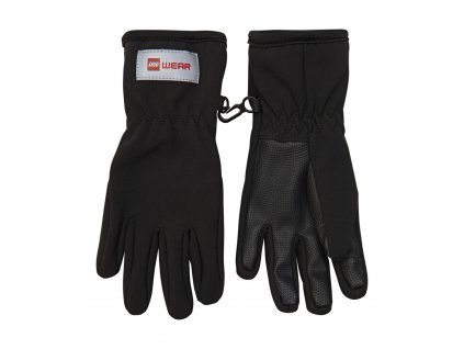 Kvalitní dětské zimní nepromokavé softshellové rukavice prstové LEGO® Wear Aiden 706 v černé barvě