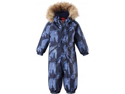 Kvalitní dětský zimní membránový overal s odnímatelnou kapucí a reflexními prvky Reima Lappi denim blue v modré barvě