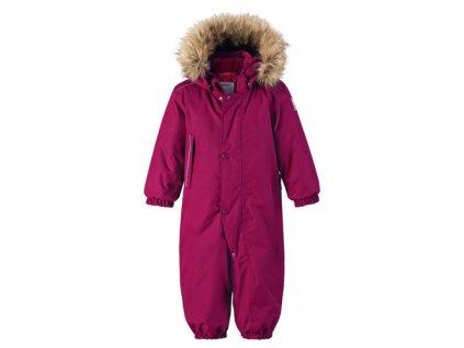 Kvalitní dětský zimní overal s membránou a s odnímatelnou kapucí a reflexními prvky Reima Gotland dark berry ve fialové barvě