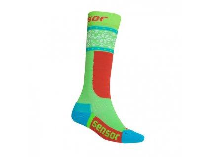 Kvalitní dětské vlněné lyžařské ponožky Sensor Thermosnow Norway v  zeleno-červené barvě 4b54346bbd