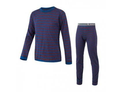 Kvalitní dětské teplé a příjemné funkční prádlo Sensor Merino Air Set v modré barvě
