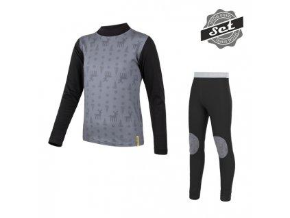Kvalitní dětské teplé a příjemné funkční prádlo SENSOR FLOW SET v černé barvě