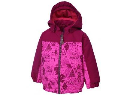 Kvalitní dětská zimní zateplená bunda s odnímatelnou kapucí a reflexními prvky Color Kids Dion candy pink v růžové barvě