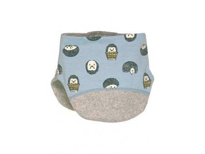 Kvalitní dětský zimní bavlněný nákrčník Maximo ježci v modré barvě
