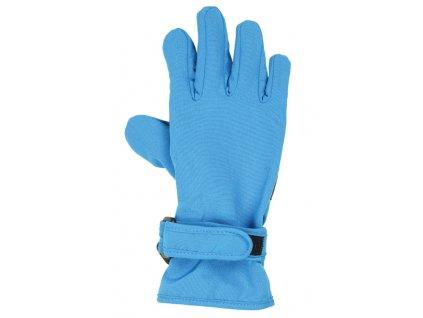 Kvalitní dětské zimní nepromokavé softshellové rukavice prstové Maximo v modré barvě