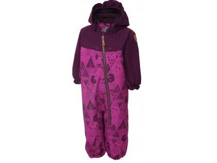 Kvalitní dětský zimní overal s odnímatelnou kapucí a reflexními prvky Color Kids Dolpa berry ve fialové barvě